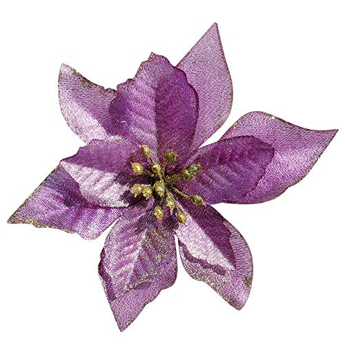 (Mobuy Poinsettia Christmas Decorations Glitter Poinsettia Flowers for Christmas Tree Decorations(12Pack)(Purple))