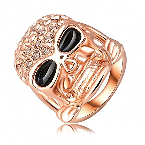 Dudee Jewelry Ring Rose Gold Plated Pave Austrian Crystal Punk-Pop Skull Engagement Ring Gangnam Style Jewelry Ri-HQ0110