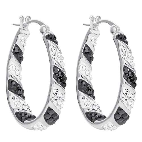 "Crystalogy Women's Jewelry Silver Plated Crystal Inside Out Oval Shape Hoop Earrings, 1.2"" Long, White/Black (More Colors Available)"