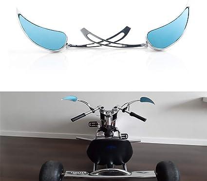 Universal Mini Motorcycle Rearview Mirrors Cruiser Black Flame Teardrop 8//10MM