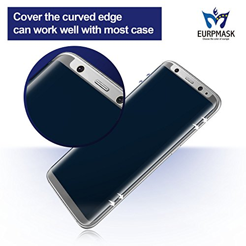 """[ Privacy Filter ][ Case Friendly Tempered Glass ] EURPMASK Samsung Galaxy S8 (5.8"""") Screen Protector,[Bubble Free][Easy Install][Anti-Spy] with A Free Carbon Fiber Back Cover"""