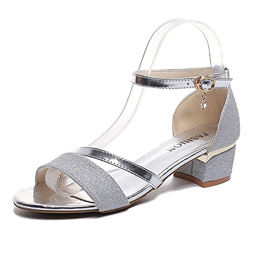 Zapatos oro de plata mujer sandalias verano de PU Gold de de comodidad bloque tacón Srran