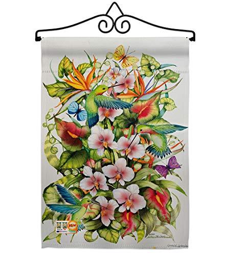 (Breeze Decor GS105054-P3-02 Orchid Splendor with Birds Garden Friends Impressions Decorative Vertical 13