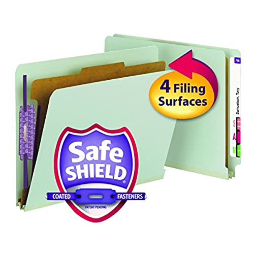 """new Smead End Tab Pressboard Classification File Folder with SafeSHIELD Fasteners, 1 Divider, 2"""" Expansion, Letter Size, Gray/Green, 10 per Box (26800)"""