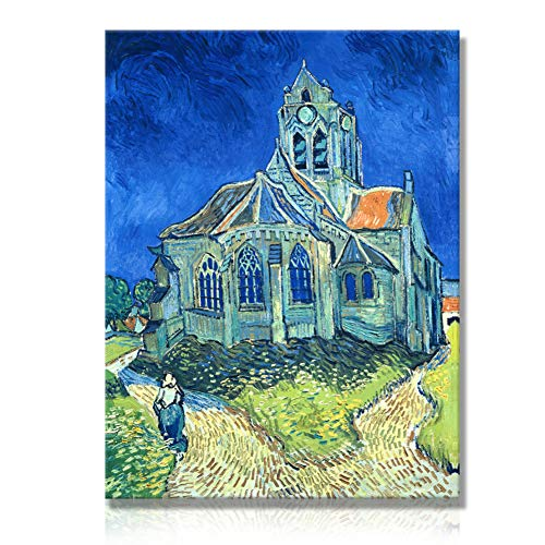 Giclee Canvas Prints Wall Art by Van Gogh -The Church at Auvers Blue House Printed Famous Poetry Oil Painting Reproduction Elegant Abstract Wall Picture for Home Office Decor Picabala-16×12