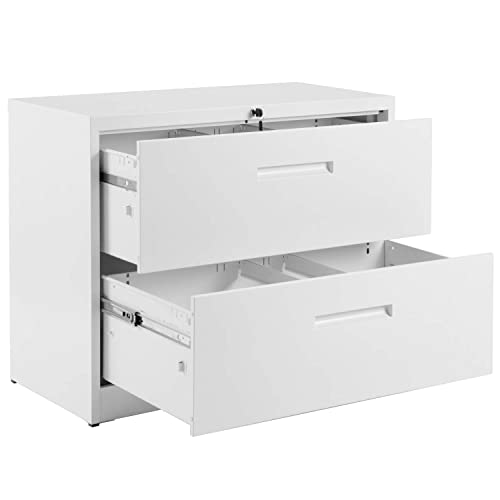 2 Drawer White Lateral File Cabinet Lockable Heavy Duty Metal File Cabinet Lateral with 2 Drawers White 35.4 L 17.7W 28.4 H