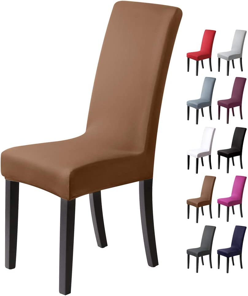 BalladHome®Fundas para sillas Pack de 4 Fundas sillas Comedor Fundas elásticas, Cubiertas para sillas,bielástico Extraíble Funda, Muy fácil de Limpiar, Duradera (Paquete de 4, Beige-Piedra)