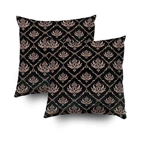 (MurielJerome Christmas Pillowcase Christmas Damask Background Tile Black in Colors Beige 18X18 Inch 2 Set, Decorative Throw Custom Pillow Case Cushion Cover Gift Home Decor)