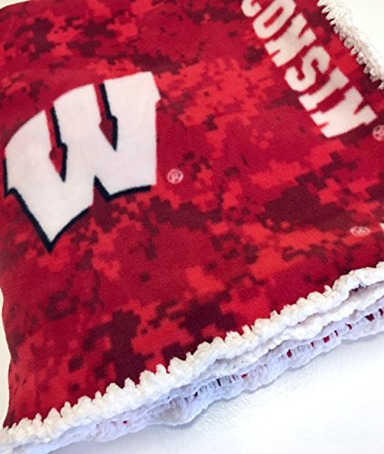 Fleece Dorm Blanket Wisconsin Badgers College Theme Handmade