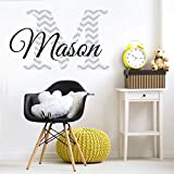 """Nursery Grey Chevron Custom Name Wall Decal Sticker, 36"""" W by 22"""" H, Boys Name, Wall Decor, Personalized, Boy Name Decor, Boys Nursery, Boys Bedroom, PLUS FREE WHITE HELLO DOOR DECAL"""