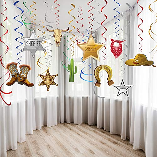Western Themed Birthday Party (Blulu Western Party Decorations Pack Hanging Swirls Foil Swirls Party Ceiling Decorations Western Cowboy Theme Party Barnyard Theme Birthday Baby Shower Decor Event Supplies)