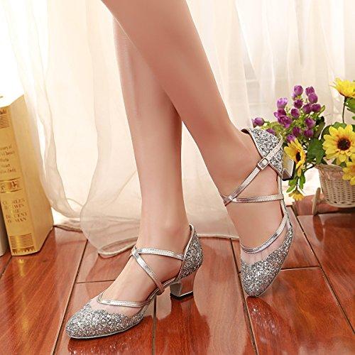 Latine Femmes Minitoo Bout Ferm Chaussures En Pour Paillettes De Danse q7wCCE8