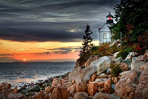 (bass Harbor Head Light) Home Decor Poster Art Print Canvas Posters W20xL13 inch