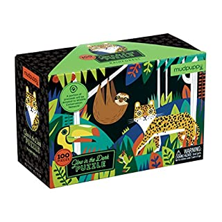 """Mudpuppy Rainforest Glow-in-The-Dark Puzzle, 100 Pieces, 18""""x12"""" -Perfect for Kids Age 5+ - Colorful Illustrations of Rainforest Animals, Birds, Plants and More -Award-Winning Glow in The Dark Puzzle (0735347468) 