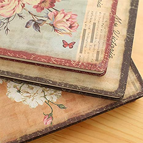 Cloth Cover Creative Retro European Style Student Notepad Hard Surface Notebook Diary Book 25K 50K 96 Pages Floral Hardcover Notebook Katoot Peony, 25K