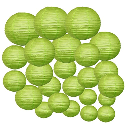 Just-Artifacts-Decorative-Round-Chinese-Paper-Lanterns-24pcs-Assorted-Sizes-Color-Light-Green