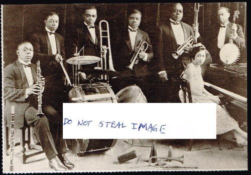 King Oliver's Creole Jazz Band In 1922 With Louis Armstrong Chicago Postcard