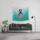 Society6 Wall Tapestry, Size Medium: 68'' x 80'', Antique Nautical Steampunk Octopus Vintage Kraken sea Monster Ombre Turquoise Blue Pastel Watercolor by igalaxy