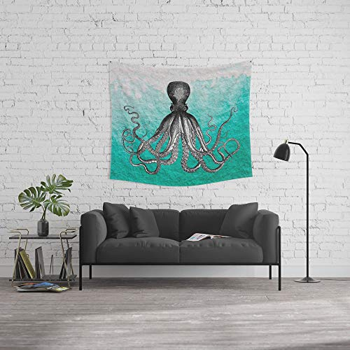 Society6 Wall Tapestry, Size Medium: 68'' x 80'', Antique Nautical Steampunk Octopus Vintage Kraken sea Monster Ombre Turquoise Blue Pastel Watercolor by igalaxy by Society6
