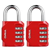 ORIA Combination Locks, 4-Digit Padlock, 2 Pack Padlocks for School,Gym & Sports Locker, Case, Toolbox, Fence, Hasp Cabinet, Great Gift for Family or Friend - Red