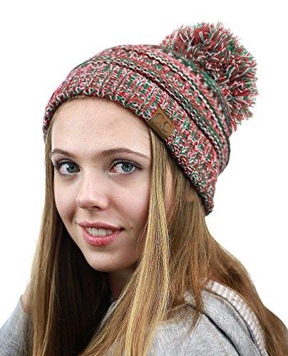 NYFASHION101 Unisex Multicolor Warm Cable Knit Slouch Pom Pom Beanie Cap, Xmas Mix