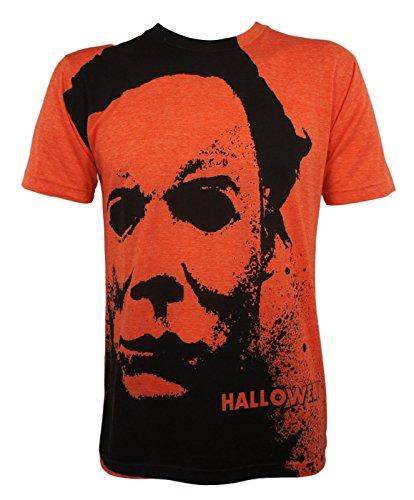 Halloween Men's Michael Myers Splatter Mask Allover T-Shirt Heather Orange M]()