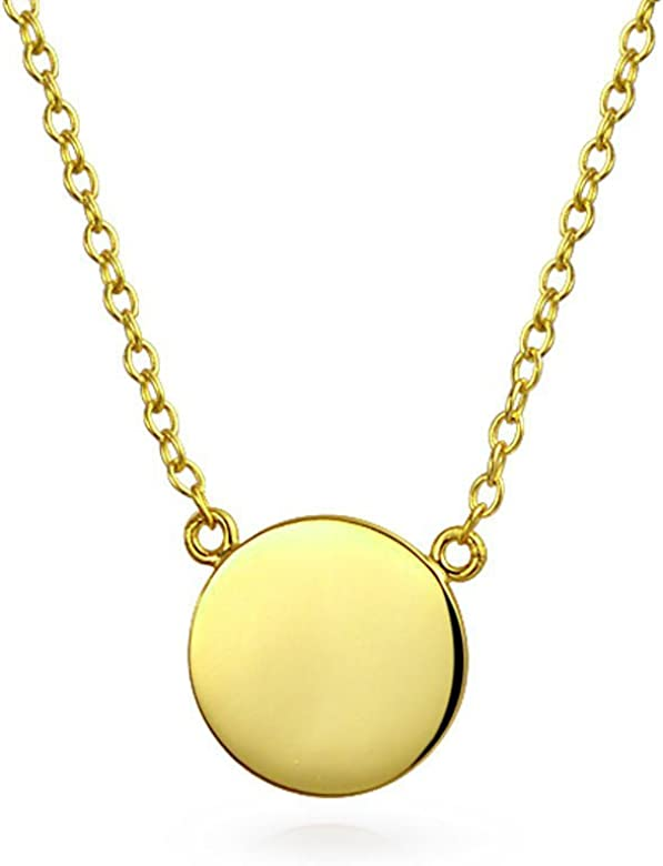 Gold-Plated Sterling Silver Engravable Round Polished Disc Charm