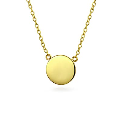 Bling Jewelry Modern Round Disc Pendant Gold Plated Necklace 16 Inches i288QyD