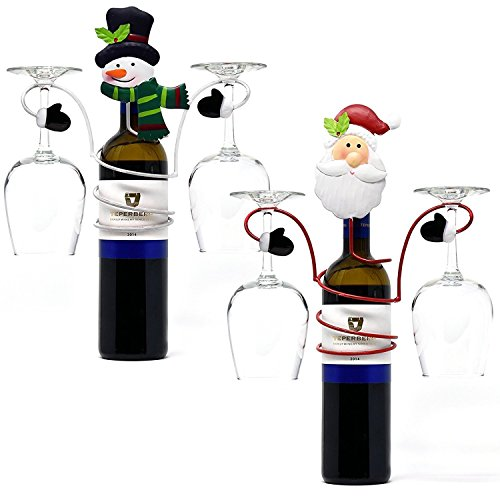 2 Christmas Wine Bottle and Glass Holder Santa and Snowman Each Holds 2 Wine Glasses for Holiday Decor Home & Kitchen Table Party Supplies Accessories
