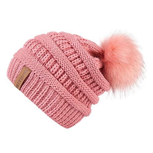 QUEENFUR Women Knit Slouchy Beanie Chunky Baggy Hat with Faux Fur Pompom Winter Soft Warm Ski Cap (Single Pink) by QUEENFUR