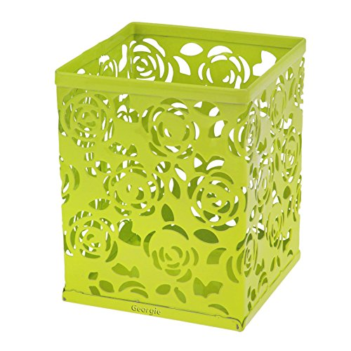 Bao Core BXT Fashionable Carved Hollow Rose Flower Pattern Metal Pencil Pen Cases Holder Box Cup Green ()