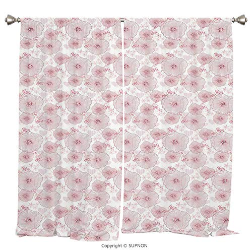 Rod Pocket Curtain Panel Thermal Insulated Blackout Curtains for Bedroom Living Room Dorm Kitchen Cafe/2 Curtain Panels/108 x 90 Inch/Abstract,Pale Toned Water Lilies Dotted Heart Design Valentines Da - Rose Prairie Cup