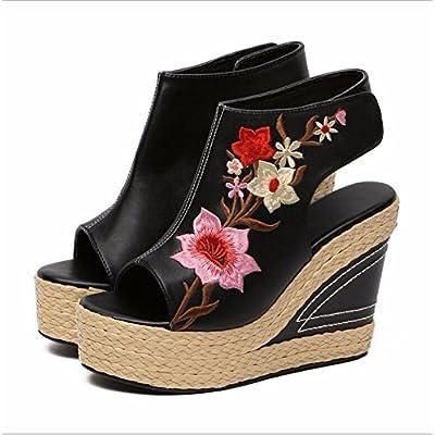 KHSKX-Les Black Hills Et Sandales Sandales Brodées Lu National Wind Poisson Bouche Chaussures Fille Broderie Fleurs À Singapour Et La Jeune Fille