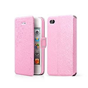 Yuersal FEATHER SILK SERIES Magnetic PU Leather Flip Wallet Stand Case Flip Leather Case Cover with Stand for Iphone 5 5S 5G(Pink)