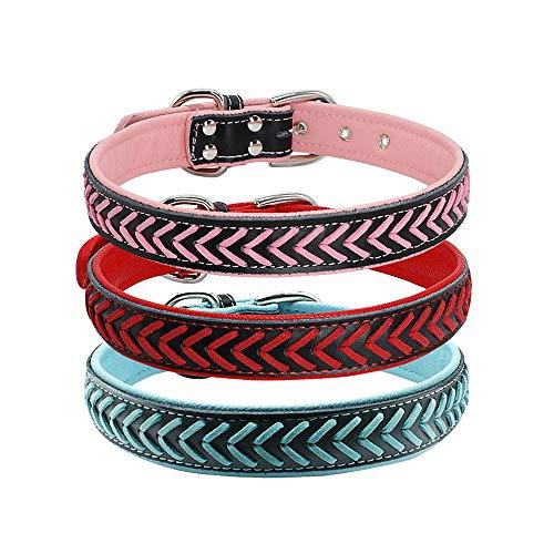 Fashion Braided Leather Dog Collars - Soft Padded Dog Collars - Quality Leather Dogs Collars fits Small Medium Large Pet Breeds