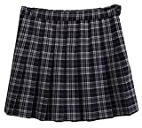 Esast Women's Classic Pleated Leisure College High Waisted Western Plaid All-Match A Line Skirt Royal Blue XXS