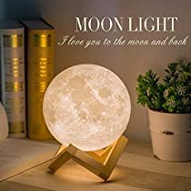 Mydethun Moon Light Night Light for Kids Gift for Women USB Charging and Touch Control Brightness Two Tone Warm and Cool White Lunar Lamp (7.0IN moon light with wood base)