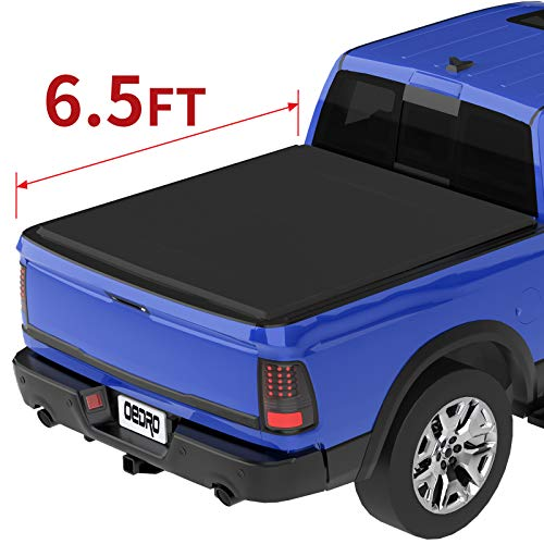oEdRo Tri-Fold Truck Bed Tonneau Cover Compatible with 2002-2019 Dodge Ram 1500 (2019 Classic ONLY); 2003-2018 Dodge Ram 2500 3500, Fleetside 6.5 Feet Bed (for Models Without Ram Box)
