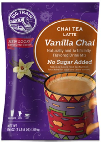 (Big Train No Sugar Add Vanilla Chai Latte, Two 3.5lb. Bags + Measuring Scoop)