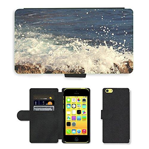 PU Leather Cover Custodia per // M00421728 Crashing Waves eau océan mer // Apple iPhone 5C