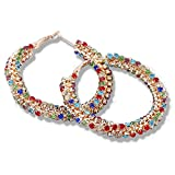 F-U Multicolor Simulated Diamond Large Hoop Earrings for Prom Party Accessories,2.16in