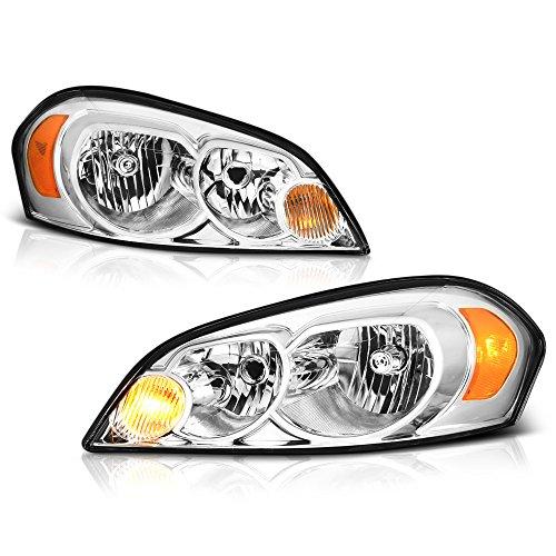 VIPMOTOZ For 2006-2013 Chevy Impala Monte Carlo Headlights - Metallic Chrome Housing, Driver and Passenger Side