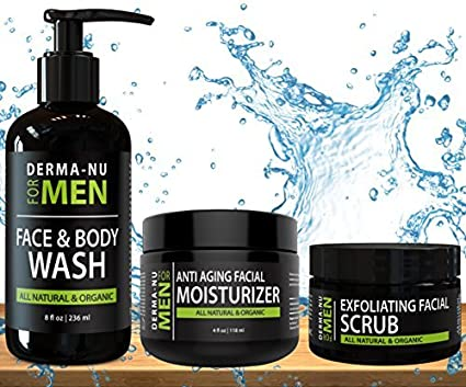 Mens Skin Care Set, Organic Skin Care for Men with Natural Face Wash, Body Wash, Exfoliating Face Scrub and Anti Aging Face Moisturizer, Our Mens Grooming Kit Refreshes Skin, Hydrates and Fights Acne best men's skincare sets