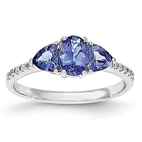 Jewels By Lux 14k White Gold Oval/Trillion Tanzanite & Diamond Ring/Diamond Ctw. 0.06, Gem Ctw.1.24 - 14k Oval Tanzanite Ring