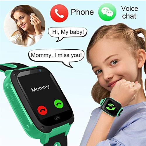 Efaster S4 Kid Smart Watch Phone GPS Tracker,Soft Silicone GPS Tracker with SIM Slot SOS Call Camera Touch Screen Real-time Location Finder Anti-Lost Alarm Remote Remove Alert for Girl Boy (Green)