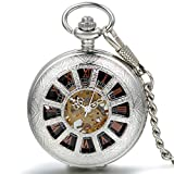JewelryWe Deluxe Wheel Style Pocket Watch, Mechanical Movement Hand Wind Pocket Watch, Half Hunter Watch with Chain