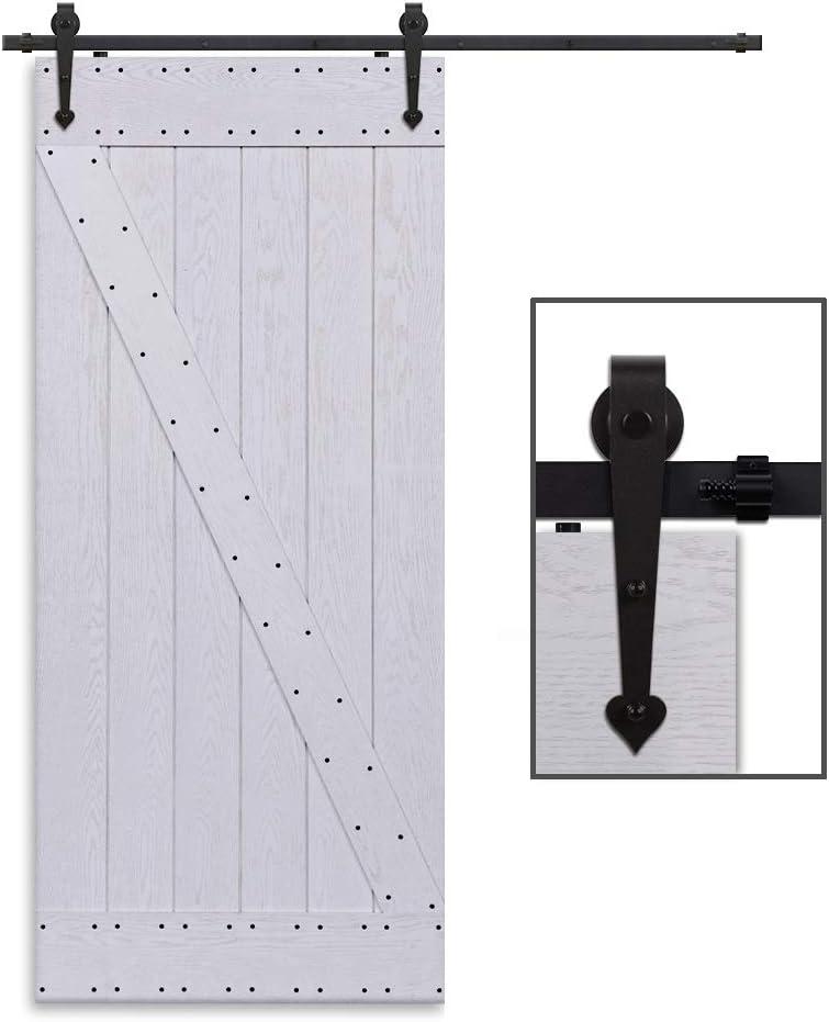 CCJH 4FT-122cm Herraje para Puerta Corredera Kit de Accesorios para Puertas Correderas Rueda Riel Juego para Una Puerta