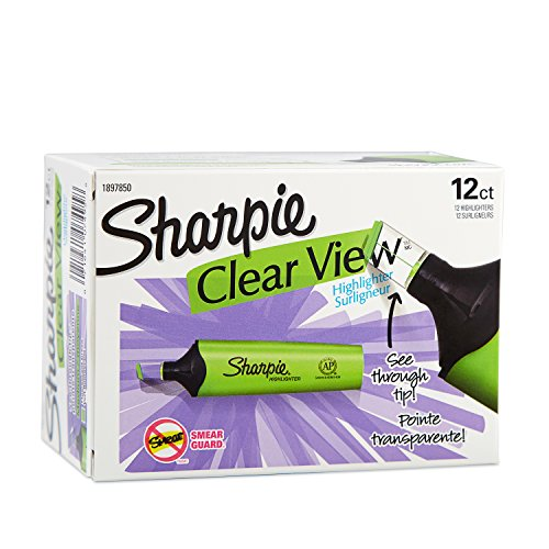 Sharpie 12 Clear View Chisel Tip Highlighters, Green (1897850) ()