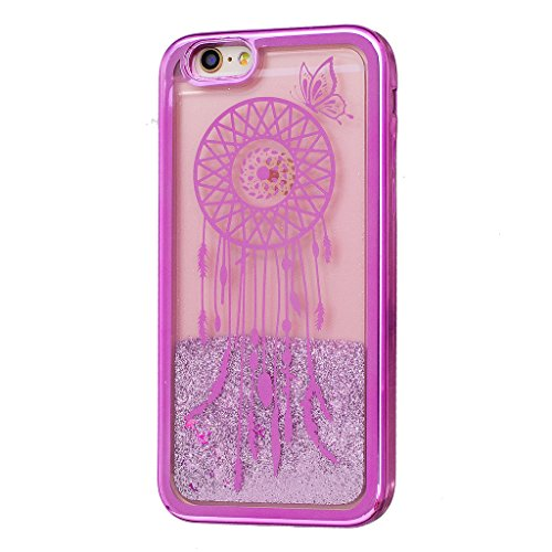 Crisant Flüssig Fließende Bling Lila Campanula Design schutzhülle Hülle für Apple iPhone 6 6S 4.7'' (4,7''),Netter kleiner Bär Luxury Tasche Schutz weich Silikon TPU Transparent Back Handy Case Cover