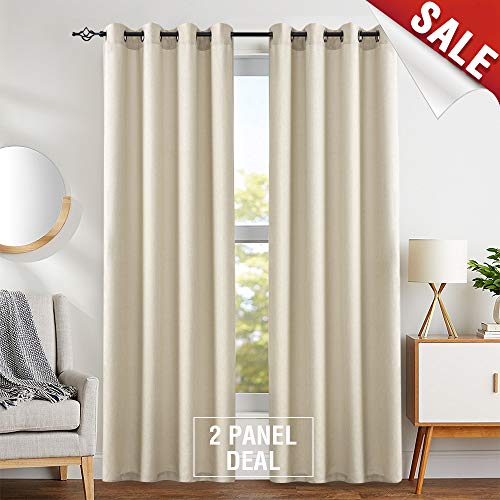 Casual Weave Semi Sheer Curtains 84 Inch Length Curtain Grommet Top Linen Textured Privacy Drapes Panel Window and Door Draperies (2 Panels, Beige) (Curtains And Draperies)